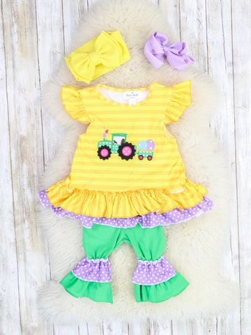 Yellow Stripe Tractor Ruffle Top & Ruffle Outfit