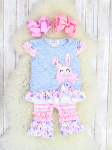 Heather Blue Bunny Ruffle Top & Stripe Outfit
