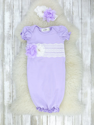 Cotton lace Baby Short Sleeve Gown With Headband - Lavender