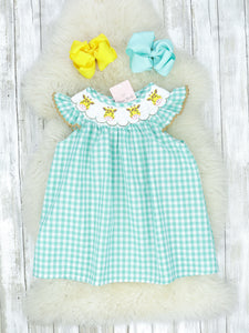 Mint Giraffe Smocked Dress