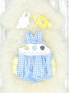 Blue & Yellow Smocked Ball Game Romper