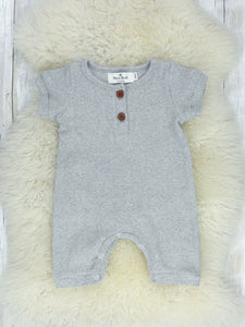 Ribbed Cotton Boy Romper - Heather Grey