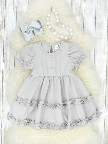 Cotton Twirl Dress - Grey