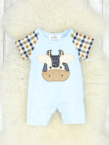 Blue & Brown Cow Plaid Romper