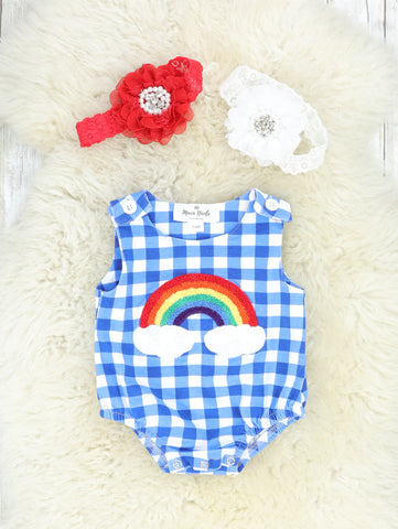 Bright Blue Checked Rainbow Romper