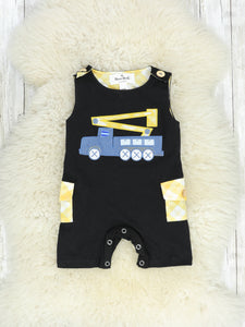 Black & Yellow Bucket Truck Tank Romper