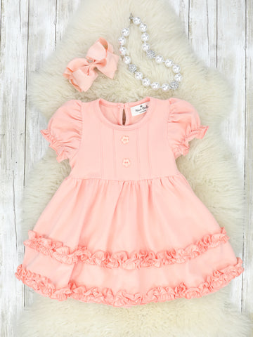 Cotton Twirl Dress - Peach