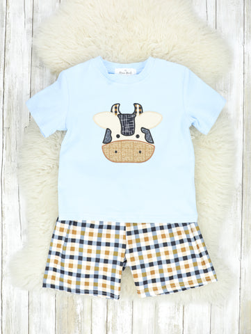 Blue & Brown Cow Plaid Outfit