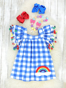 Bright Blue Checked Tassle Rainbow Dress