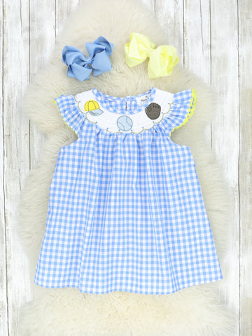 Blue & Yellow Smocked Ball Game Dress
