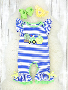 Green & Blue Farm Life Ruffle Romper