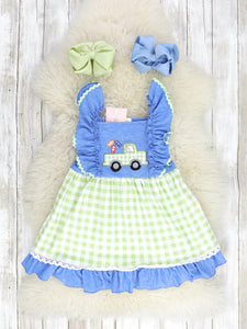 Blue Ruffle Dress With Lime Green Checked Truck & Fish