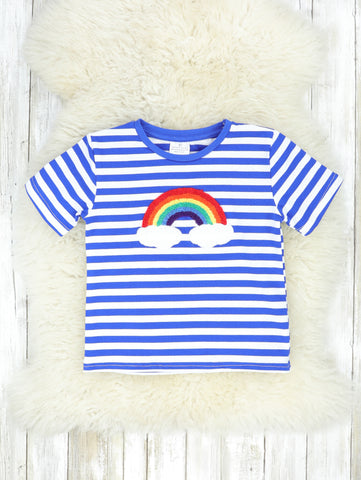 Bright Blue Striped Rainbow Shirt