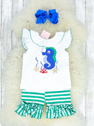 Green & White Striped Seahorse Ruffle T-Shirt & Shorts Outfit