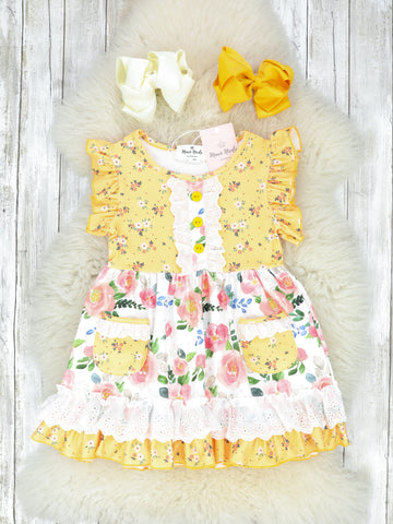 Mustard & Pink Mixed Floral Pocket Ruffle Dress