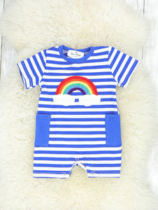 Bright Blue Striped Rainbow Romper