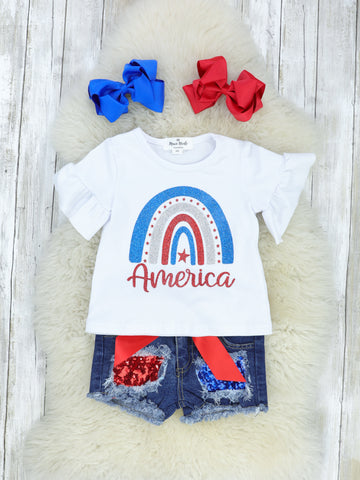 America Sparkly Rainbow Ruffle Top with Sequin Denim Shorts