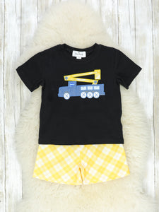 Black & Yellow Bucket Truck T-Shirt & Shorts Outfit