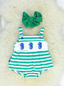 Green & White Striped Seahorse Ruffle Bubble Romper