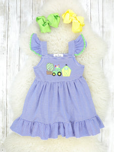 Green & Blue Farm Life Flutter Sleeve Dress