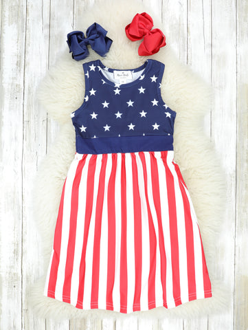 Mom & Me Patriotic Stars & Stripes Maxi Dress