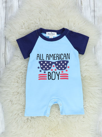 """All American Boy"" Blue Romper"