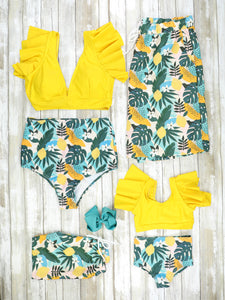 Mom & Me / Family Yellow Tropical Floral Swimsuits