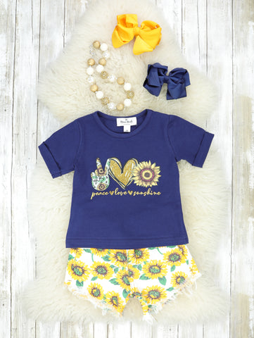 Peace, Love, & Sunshine Sunflower Denim Shorts Outfit