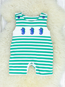 Green & White Striped Seahorse Shorts Romper