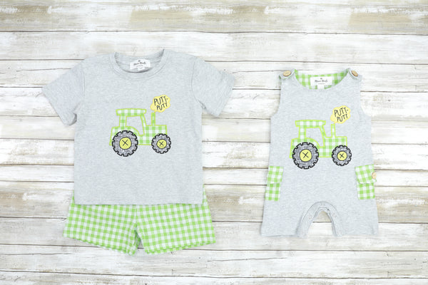 Lime Green Tractor Romper