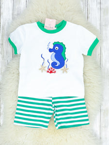 Green & White Striped Seahorse T-Shirt & Shorts Outfit