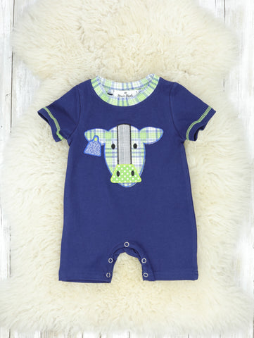 Navy Cow Shorts Romper