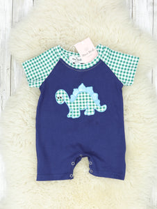 Navy & Green Checked Dino Romper