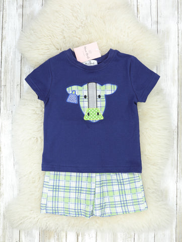 Navy Cow Shirt & Green Plaid Shorts Outfit