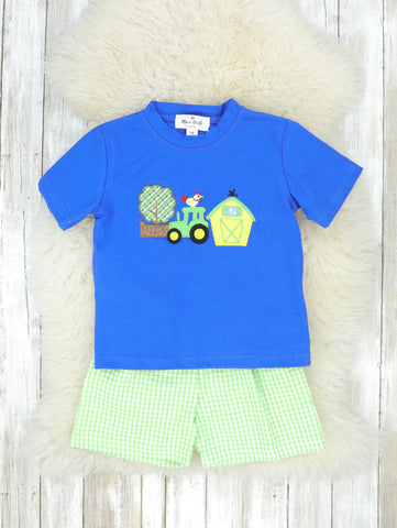 Green & Blue Farm Life Checked Outfit