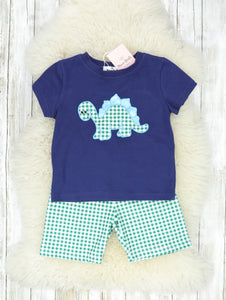Navy & Green Checked Dino Shorts Outfit