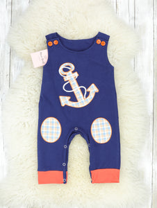Navy Anchor Sleeveless Romper