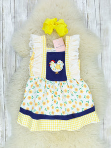 Yellow Floral Chicken Ruffle Dress