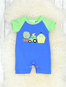 Green & Blue Farm Life Shorts Romper