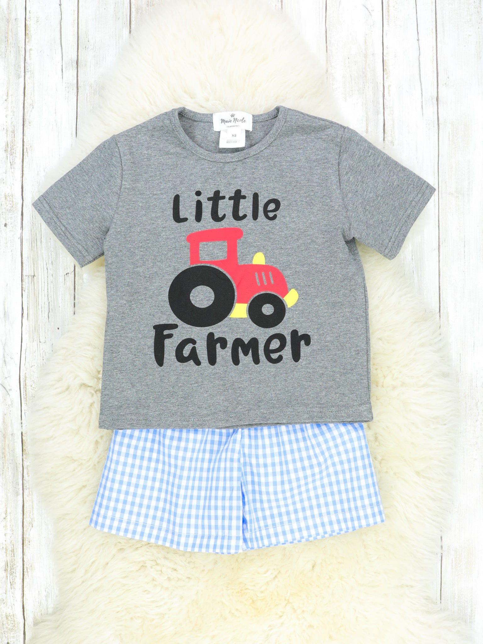 Blue Tractor Checked Shorts and T-Shirt Outfit