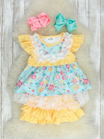 Yellow Lace Floral Top & Ruffle Shorts