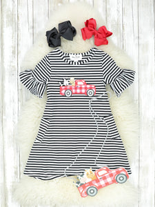 Red Farm Truck 2 Piece (Dress & Purse) Ruffle Dress Set