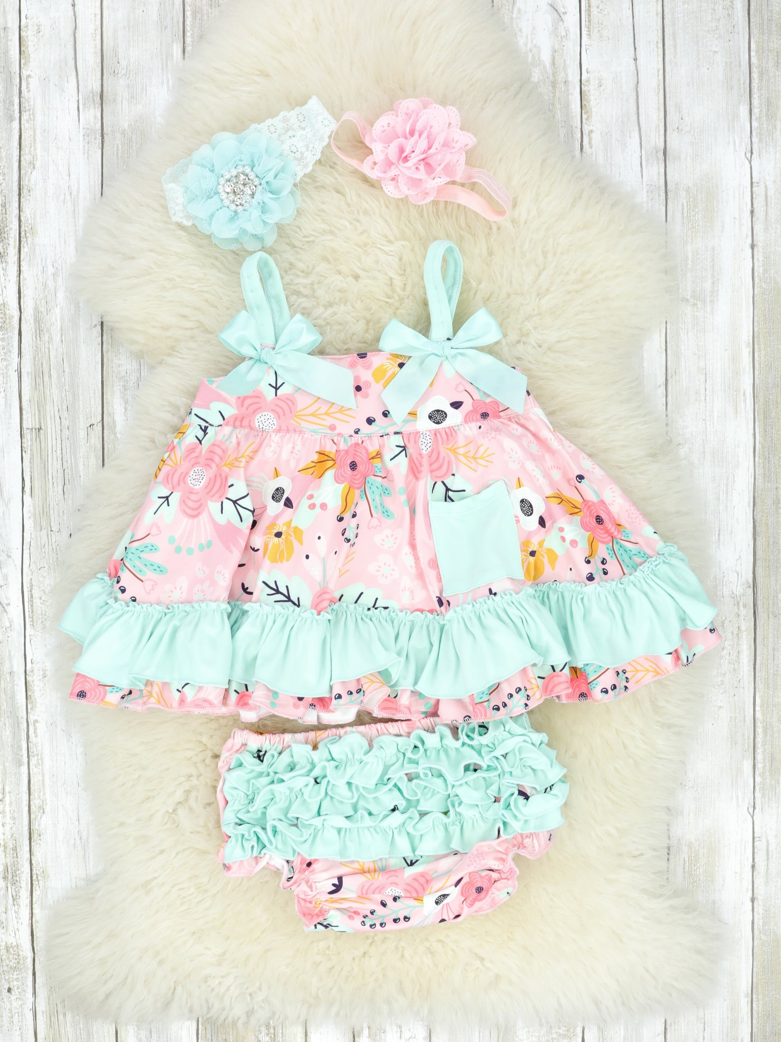 Pink & Teal Spring Floral Swing Dress & Ruffle Bloomers Outfit