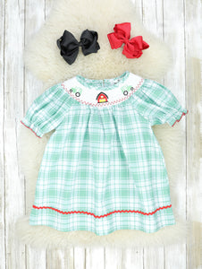 Green Plaid Farm Smocked Dress