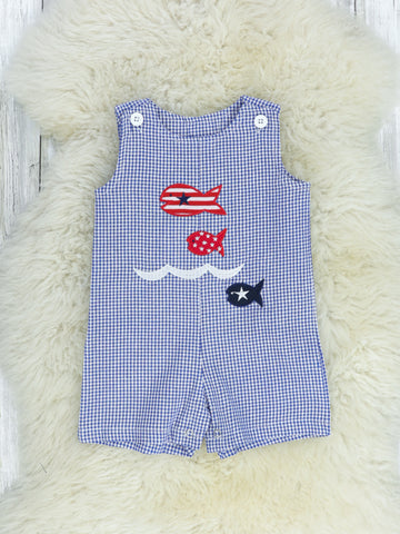 Blue / White Striped Romper With Three Fish