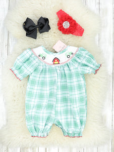 Green Plaid Farm Smocked Romper