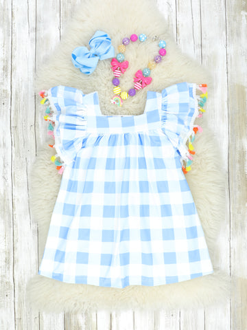 Blue Gingham & Tassle Dress
