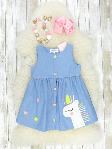 Chambray Unicorn Tank Dress