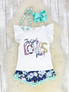 """Jesus Loves Me!"" White Ruffle Shirt With Floral Bottoms"