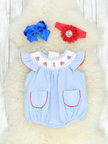 Light Blue & Red Smocked Sailboat Bubble
